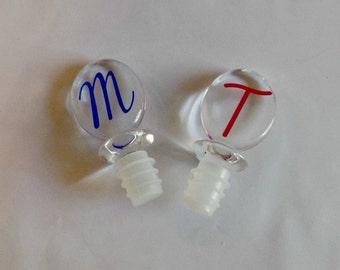 Wine Stopper Monogrammed, Acrylic Monogram Wine Stopper,  Monogram Wine Stopper, Bottle Stopper, Personalized Bottle Stopper