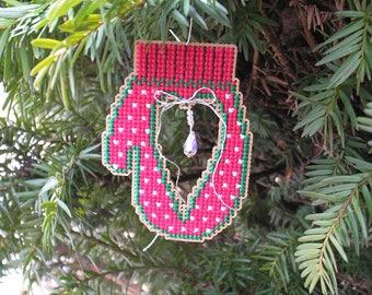Red Mitten Christmas Fantasy Ornament