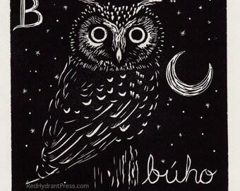 Owl - B is for búho spanish alphabet linocut