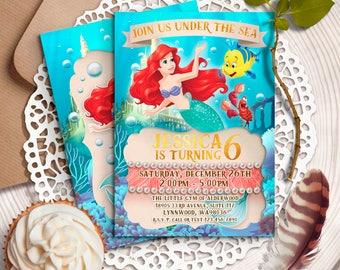 Little Mermaid Invitation, Disney Ariel Invite, Little Mermaid Birthday Invitations, Disney Princess Ariel invitation, Ariel printables