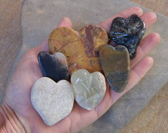 Natural hearts - Love heart flock of six - handmade stone hearts, contemplation stones
