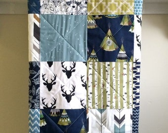 Handmade Baby Quilt, Boy Blanket, Deer Quit, Rustic Woodland Nursery, Navy Crib Bedding, Blue, Gray, Crib Bedding, Fern Leslie, TeePee Navy