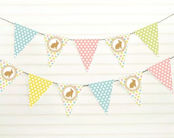 Easter Garland - Bunny Bunting - Easter Pennant Banner - Printable