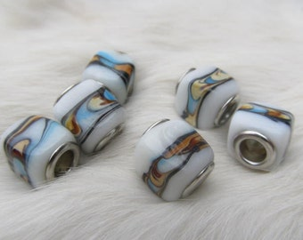 6 big-hole lamp work beads in turquoise and whites