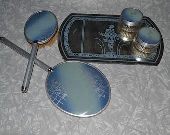 Blue Vanity Set with Box ~ Art Deco Dresser Set ~ Vintage Hand Mirror ~ Epsteam