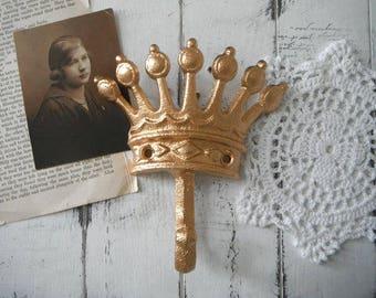 murale crochet manteau crochet crochet d'or chic bijoux crochet Couronne crochet tiare crochet pépinière décor Français pays Paris Appartement métallisées de couleur or