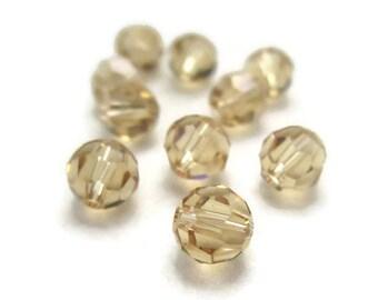 10 Round 6mm Light Colorado Topaz Swarovski Crystal Beads Style 5000 Brown November Birthstone