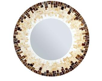 Round Bathroom Mirror – Mosaic Tile Mirror in Brown, Beige and White