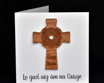 Scottish Gaelic or English Easter card - with cherrywood Celtic Cross decoration.  Can be personalised.