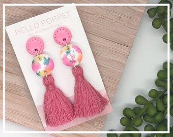 Polymer clay earrings - fimo earrings - Tassel Earrings - Hypoallergenic earrings -stainless steel studs - Statement Earrings