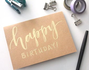 calligraphy embossed birthday card // happy birthday