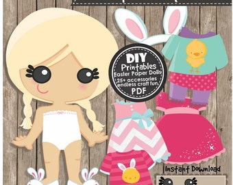 EASTER PAPER DOLLS - Instant Download pdf - diy Craft Project, Party Decorations, Clipart, Holiday Activities, Scrapbooking and Papercraft