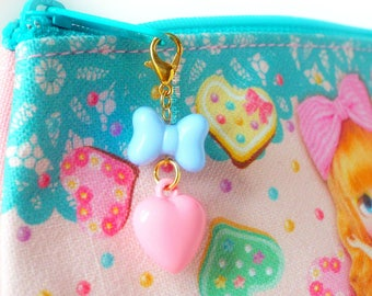 Charms For Planners Fairy Kei Lolita Kawaii Pastel Pink Heart Bow Bag Charm Zipper Pull Backpacks For Kids