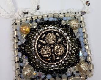 Collar necklace or Choker, utterly unique bead embroidery, button and tie in cotton net