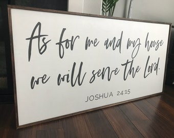 As for me and my house sign | large As for me and my house we will serve the lord | Joshua 24:15 | as for me and my house | large wall art