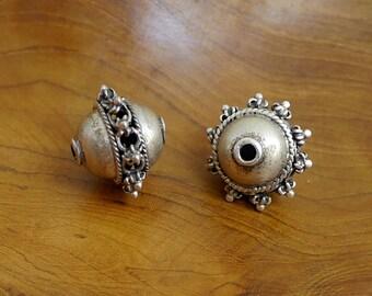 Two Vintage Sterling Silver Yemeni Beads