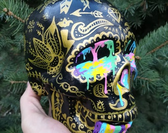 Painted Skull - Mandala - Psychedelic Skull - Golden - Colorful - Floral - Detailed - Diamond - Circles - Day of the Dead - Sugar Skull