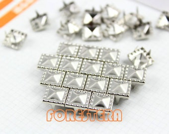 500Pcs Silver Dotted Border Pyramid Studs 8.5mm (SDP08)