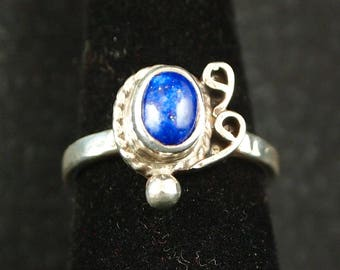 Lapis and Sterling Silver Ring Size 7 1/4