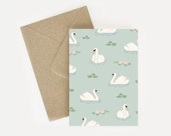 Swan pattern, illustrated postcard