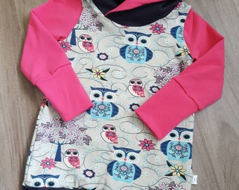 Scalable tunic, owls, baby grow with me