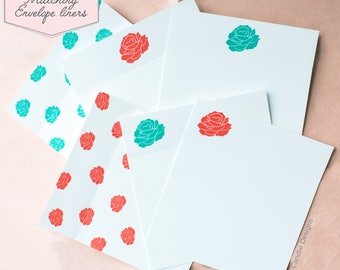 Printed Matching Envelope Liner | A2 Sized Liner | Floral | Peony | Peonies | Will You Be My Bridesmaid, Maid of Honor Card | Flower Card
