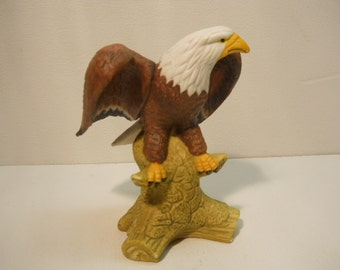 Eagle Hand Painted Porcelain Perched On Rock Collectible n704