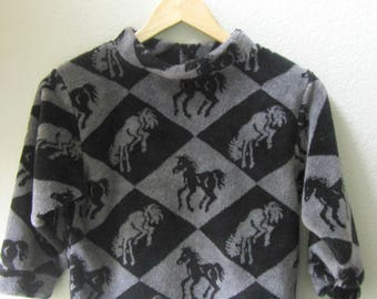 Fleece Soft Pullover Horse Print Unisex Gender Neutral Grey Black Running Galloping Horses Size 5