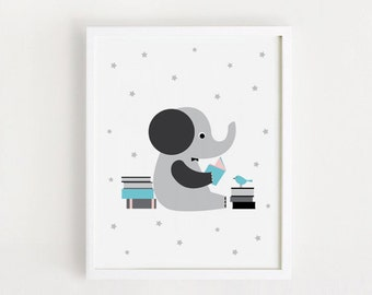 INSTANT DOWNLOAD Reading Print Cute Elephant Poster Kawaii Illustration Printable Kids wall art Nursery wall art Digital File