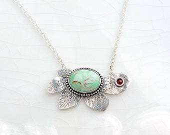 Chrysoprase Daisy with Garnet Pendant - Sterling Silver Necklace, One of a Kind