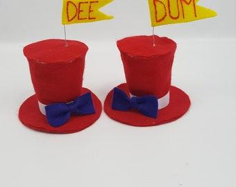 Tweedle Dee and Dum Tiny Top Hat Set, Dee and Dum Costume, Halloween Costume, Alice Party Favor, Alice in Wonderland, Tweedles Hat Set