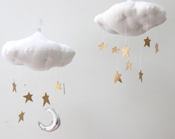 Luxe Gold Star Cloud Mobile in Metallic Leather and Linen - Nursery Decor