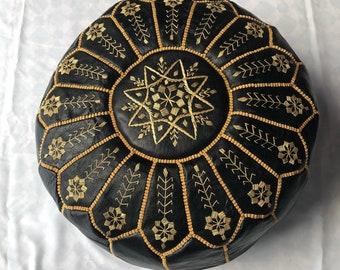 Moroccan leather pouf, Moroccan pouf, leather ottoman, pouffe, ottoman pouf, pouf, footstool, handmade Active