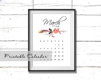 March calendar 2018 Printable monthly calendar Wall calendar Printable calendar months Tribal calendar Gift ideas Calendar Insert