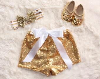 Gold Sequin Shorts   Pom Poms   Sparkly Baby Shorts   Birthday Outfit   Sparkle Outfit   Birthday Shorts   Toddler Shorts   Girl Shorts