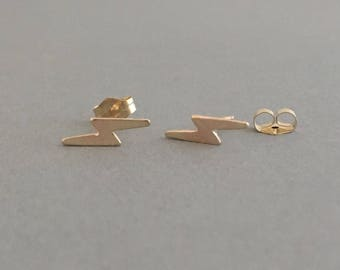 Lightening Bolt Post Earrings Gold Fill or Sterling Silver