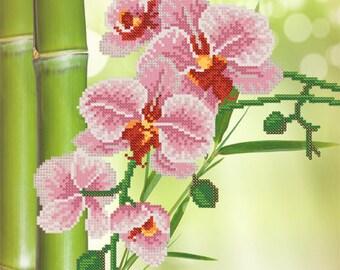 Orchids DIY bead embroidery kit beading needlepoint needlework sewing craft set housewarming gift idea for artisan