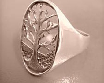 Sterling Silver 925 Tree of Life hand-made 60s model ring