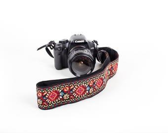 SLR Red Camera Strap - Camera strap vintage - Adjustable Camera strap For Canon, Nikon and More. Woven SLR Camera Strap for Men and Women