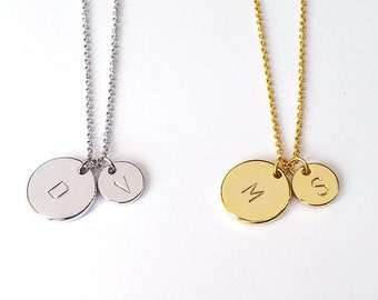 Personalized Two Gold, Silver Circle Initial Disc Necklace, Custom Mother Daughter letter Necklace, His and Hers Initial, Mother's Day Gift