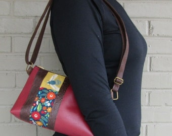Small Vegan Leather Crossbody Bag - Bee Crossbody Bag - Red Vegan Leather Bag