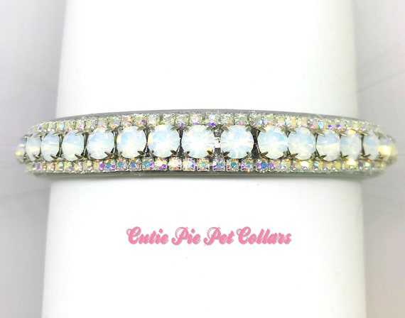 Bling Cutie Pie Pets Collars™ Opal Aurora Glow~ Crystal Diamante Rhinestone Vegan Leather Dog or Cat Safety Collar USA