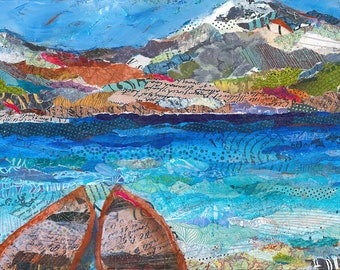 Canoes Mountain Lake Original Mixed Media Painting