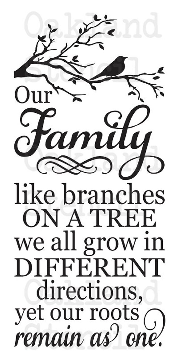 Family STENCIL Our Family like branches on a