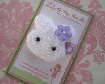 girl hair clips - easter hair clips - bunny hair clips - girl barrettes