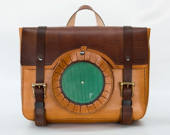 Green door Overnight Bag-Hobbit inspired Leather Bag- The Shire -Lotr- Gandalf Rune Geekery - Lord of the rings bag