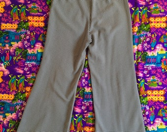 Vintage Navy Blue White Checkered Patterned Retro Polyester Wide Leg Pants Plaid Geometric