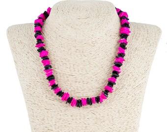 Black & Fuchsia Puka Chip Shells Necklace