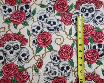 Skulls Red Rose Tattoo Bones Thorns Tea Cream AH Cotton Fabric