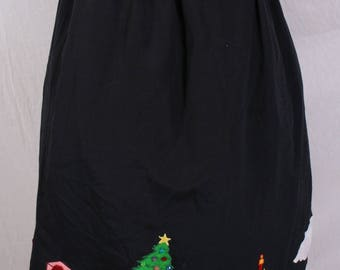 vintage Hand made CHRISTMAS SKIRT circle skirt Holiday Appliques Rockabilly